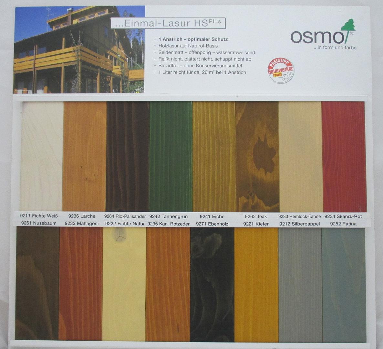 einmal lasur hs plus von osmo seidenmatt 750 ml nach eigener farbauswahl. Black Bedroom Furniture Sets. Home Design Ideas
