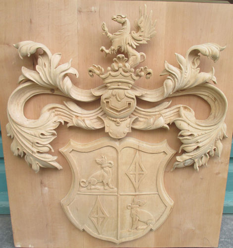 Holzkrone handgeschnitzt aus Erle 310 x 95 mm 1 Stück Möbelholzverzierung